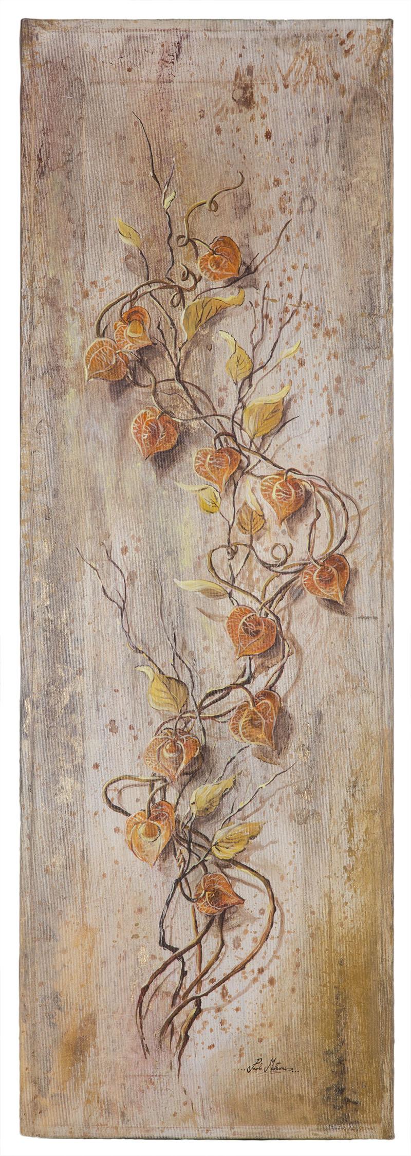 Tralcio di alchechengi Tela 30x90 cm tempera acrilica con inserimento di foglia d'oro. Dipinto a mano.