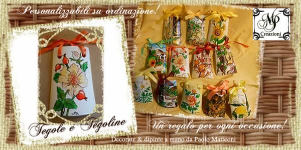 Tegole e tegoline completamente dipinte a mano, decorate e personalizzabili su ordinazione. Decorazioni di Paolo Matteoni