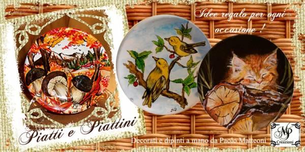 Piatti e Piattini decorati e dipinti a mano, personalizzabili e con diversi tipi di decorazioni