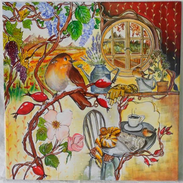 allegoria delle quattro stagioni dell'anno all'interno della vita del pettirosso