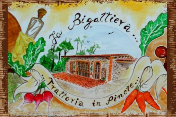 ritratto della veduta del ristorante Bigattiera acrilico su tavola di legno