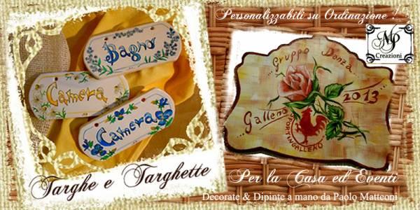 Targhe e Targhette interamente dipinte a mano per le stanze della casa e targhe premio per eventi e manifestazioni