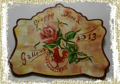 Targa per premio di Gruppo Danza dello Sportingalleno, raffigurante rosa al centro con stemma del gallo
