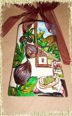 Tegolina Piccola decorata interamente a mano con Fichi ed Allegoria della Marmellata e Conserva contadina